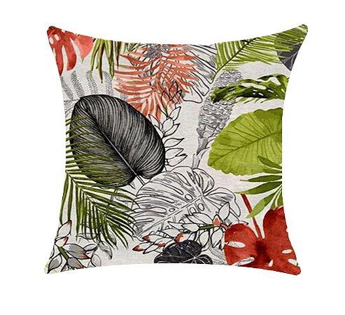 Almofada com Enchimento - Garden Linho 50X50 - Floral Verde/Vermelho