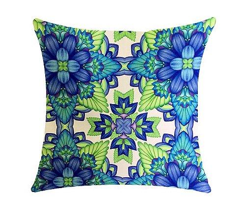 Almofada com Enchimento Soleil Digital 50X50 - Psic Azul / Verde