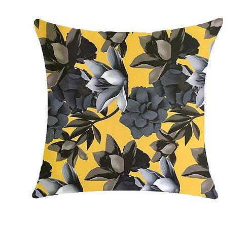 Almofada com Enchimento Soleil Digital 50X50 - Floral Amarelo / Cinza