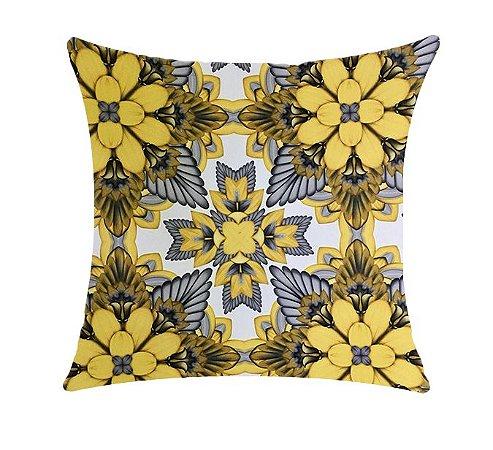 Almofada com Enchimento Soleil Digital 50X50 - Psic Amarelo / Cinza