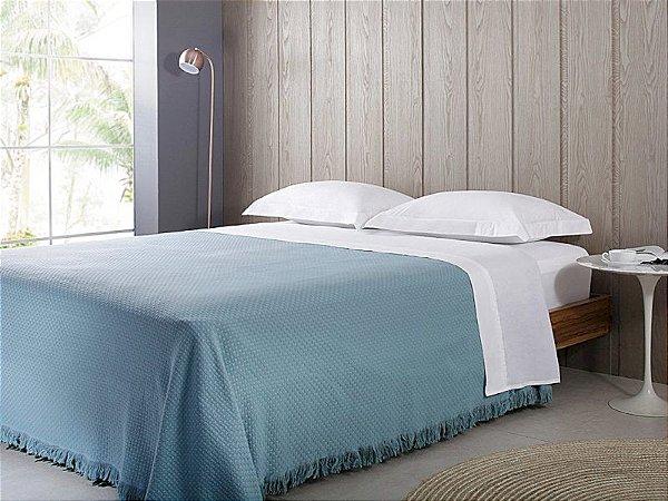 Colcha In Design com Franja Azul  - Casal - Buddmeyer