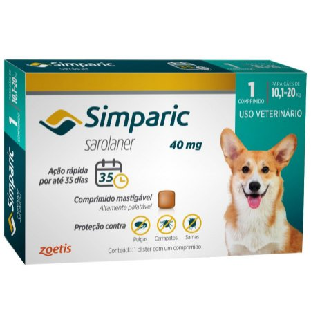 Antipulgas E Carrapatos Simparic 40Mg 10,1 A 20Kg - 1 Comprimido