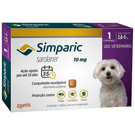 Antipulgas E Carrapatos Simparic 10 Mg 2,6 A 5Kg - 1 Comprimido