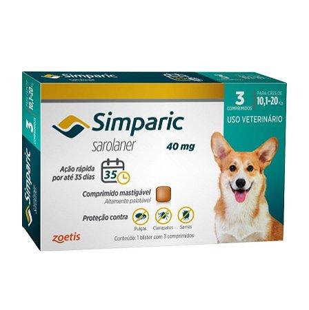 Antipulgas E Carrapatos Simparic 40Mg 10,1 A 20Kg - 3 Comprimidos