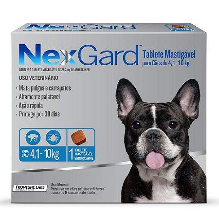 Antipulgas e Carrapatos NexGard para Cães de 4,1 a 10kg 1 comprimido