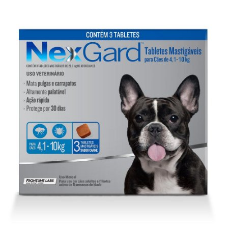 Antipulgas e Carrapatos NexGard para Cães de 4,1 a 10kg 3 comprimidos
