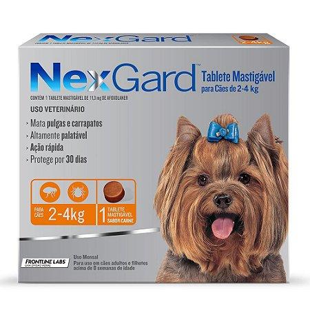 Antipulgas e Carrapatos NexGard para Cães de 2 a 4kg 1 comprimido