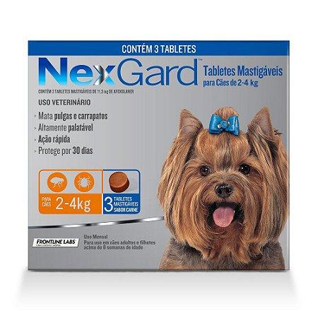 Antipulgas e Carrapatos NexGard para Cães de 2 a 4kg 3 comprimidos