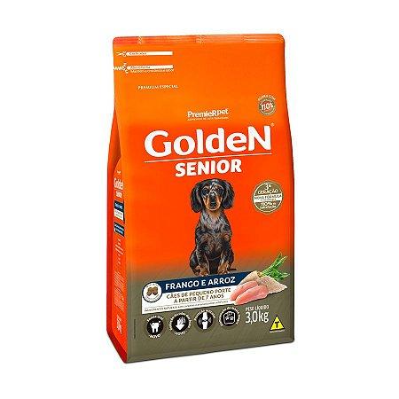 Ração Golden Fórmula Mini Bits Senior para Cães Adultos de Pequeno Porte Sabor Frango e Arroz