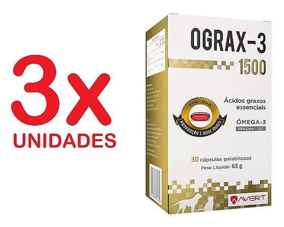 Ograx 1500mg Omega-3 Avert 30 Capsulas Cães E Gatos Kit Com 3 Unidades