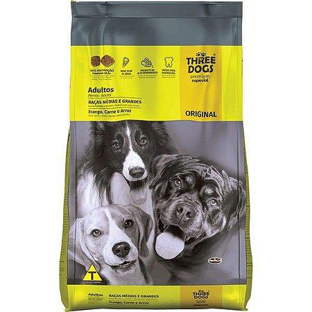 Ração Three Dogs Original Frango, Carne e Arroz para Cães Adultos Raças Médias e Grandes