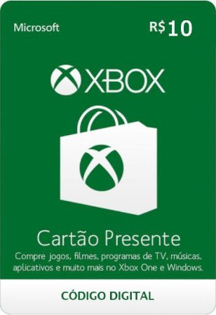 Cartão Presente Pré Pago Xbox Live R$ 10 Reais