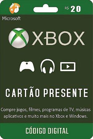 Cartão Presente Pré Pago Xbox Live R$ 20 Reais