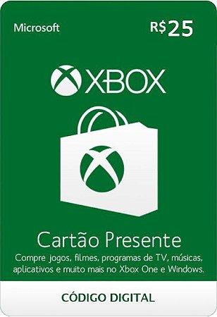 Cartão Presente Pré Pago Xbox Live R$ 25 Reais