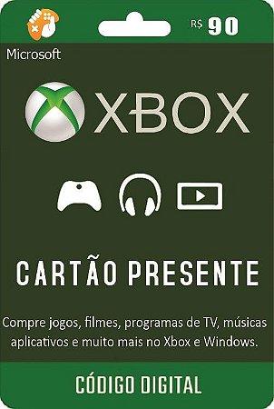 Cartão Presente Pré Pago Xbox Live R$ 90 Reais