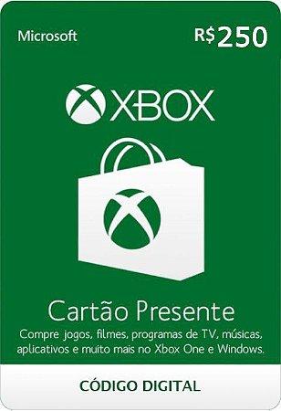 Cartão Presente Pré Pago Xbox Live R$ 250 Reais