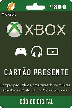 Cartão Presente Pré Pago Xbox Live R$ 300 Reais