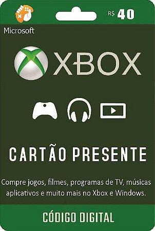 Cartão Presente Pré Pago Xbox Live R$ 40 Reais