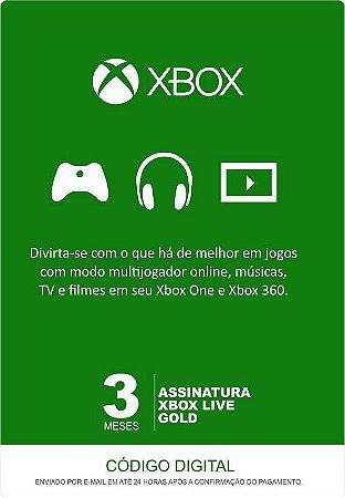 Xbox Live Gold - Assinatura 3 Meses