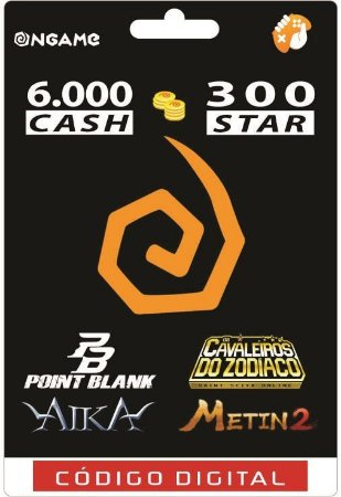 OnGame: 6.000 Cash / 300 Star: Point Blank, AIKA, Metin 2 e CDZ