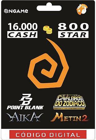 OnGame: 16.000 Cash / 800 Star: Point Blank, AIKA, Metin 2 e CDZ