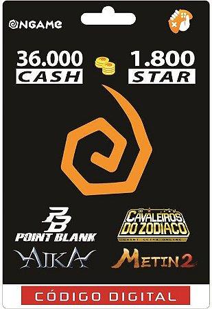 OnGame: 36.000 Cash / 1.800 Star: Point Blank, AIKA, Metin 2 e CDZ