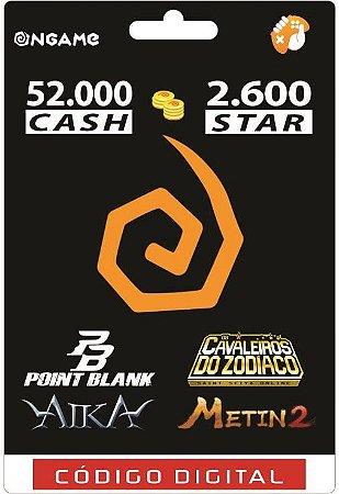 OnGame: 52.000 Cash / 2.600 Star: Point Blank, AIKA, Metin 2 e CDZ