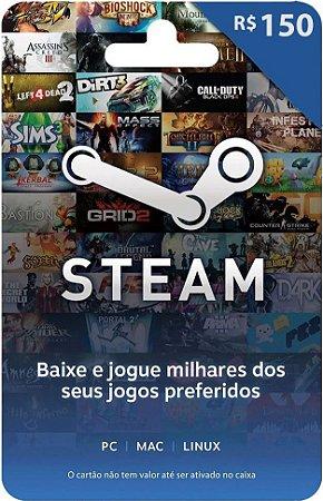 Steam - Cartão Pré Pago R$ 150 Reais