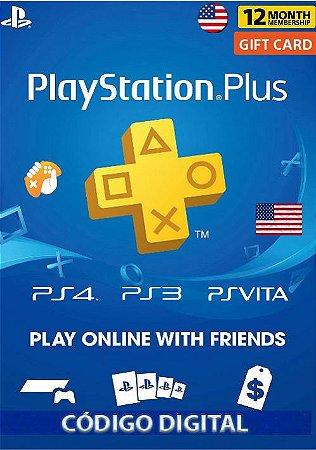 Cartão Playstation Plus 12 Meses (1 Ano) PSN USA
