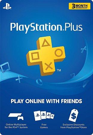 Cartão Playstation Plus 3 Meses PSN USA