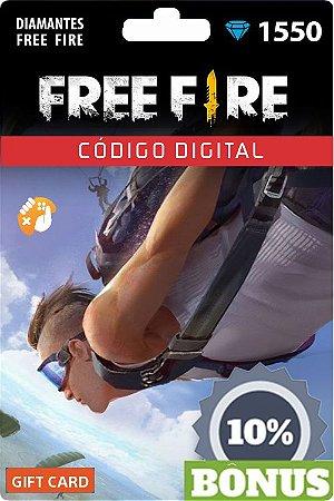 Free Fire - 1.550 Diamantes + 155 Bônus - Recarga para Conta