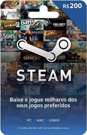 Steam - Cartão Pré Pago R$ 200 Reais
