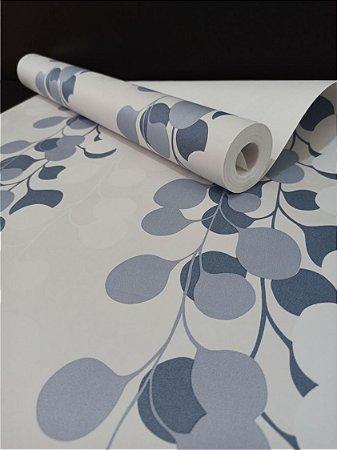 Papel de Parede Floral Branco/Azul 10 Metros