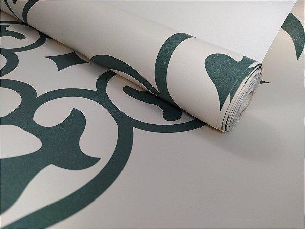 Papel de Parede  Floral Branco/Verde 10 Metros