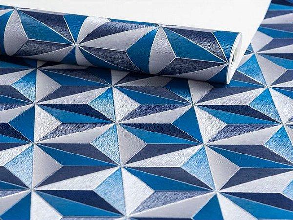 Papel de Parede Geométrico Azul e Branco 10 Metros