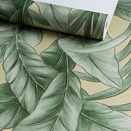 Papel de Parede Floral Verde, vinilico
