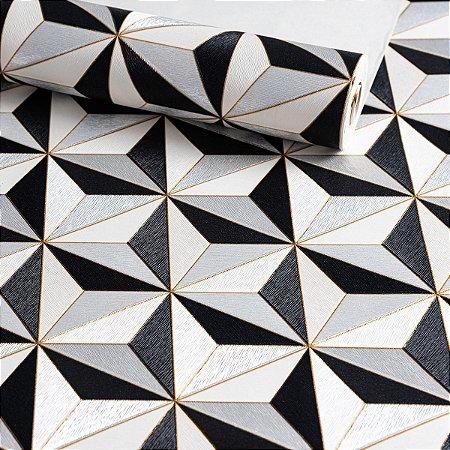 Papel de Parede 3D Geométrico Cinza e Preto 10 Metros.