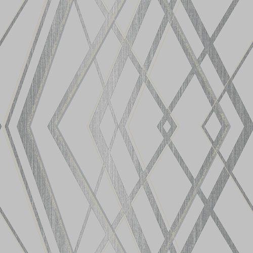 Papel de Parede Vinílico - EPP III - Geométrico - cinza e prata