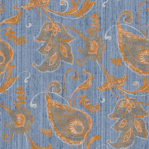 Papel de Parede Vinílico - EPP III - Floral - azul e laranja