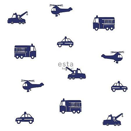 Papel de Parede Vinicilo - Infantil (Bombeiro, Policia, Helicóptero e Guincho) - Branco e Azul
