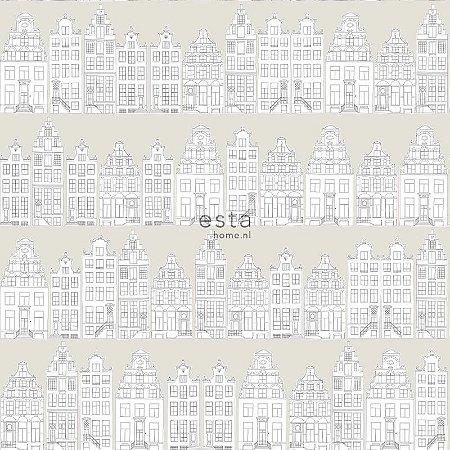 Papel de Parede Vinicilo - Infantil (Prédios) - Cinza e Branco