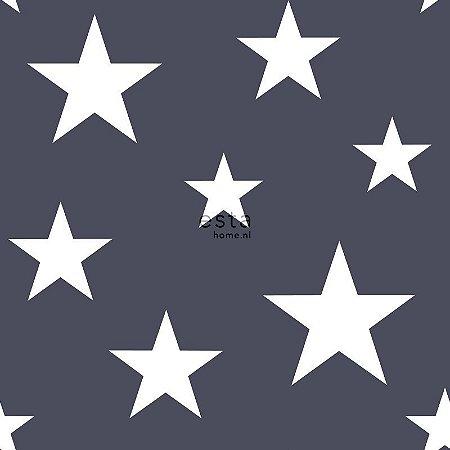 Papel de Parede Vinicilo - Estrelas - Marinho e Branco