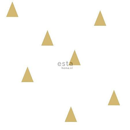 Papel de Parede Vinicilo - Geométricos - Branco e Dourado