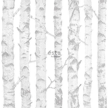 Papel de Parede Vinicilo - Galhos - Branco e Cinza