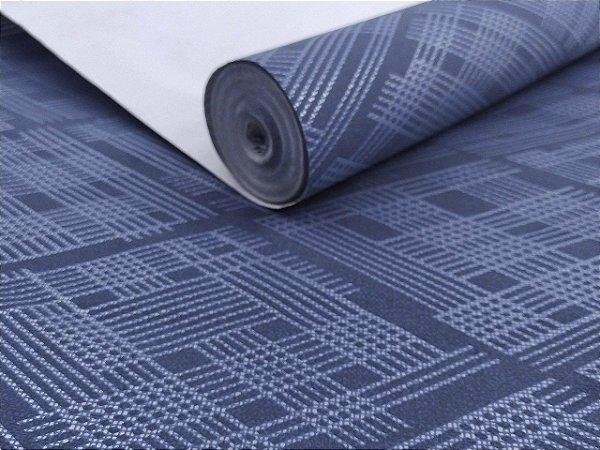 Papel de parede geométrico azul com leve brilho prata lavável
