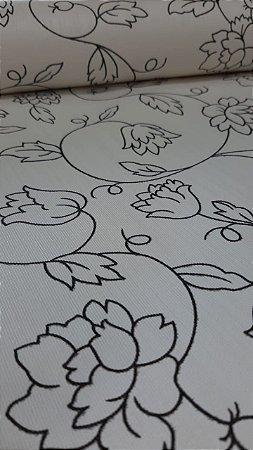 Papel de Parede Floral Black in White 10 Metros