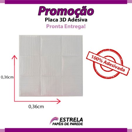 Placa Adesiva Quadriculada 3D 0,36CM X 0,36CM