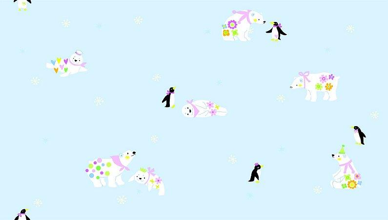 Papel de Parede Dream Word A5088-1 urso polar e pinguim com fundo azul 1,06 x 15 rendimento de 12 metros