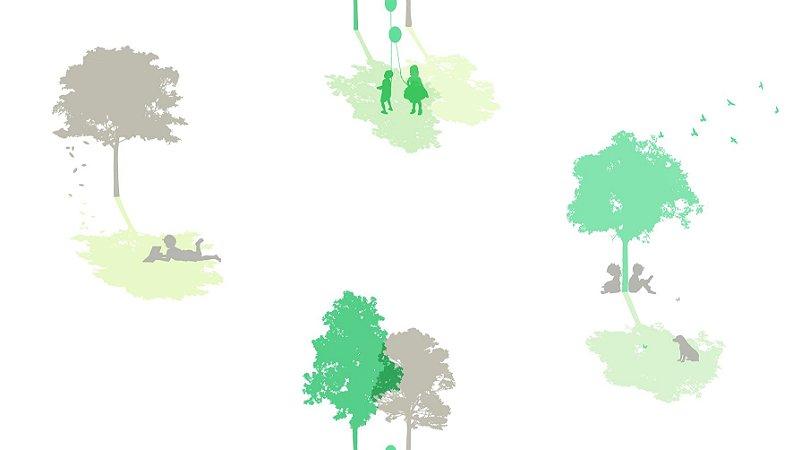 Papel de Parede Dream Word A5091-1 arvores com fundo branco 1,06 x 15 rendimento de 12 metros