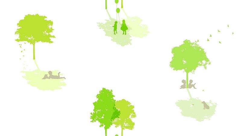 Papel de Parede Dream Word A5091-2 arvores com fundo branco 1,06 x 15 rendimento de 12 metros